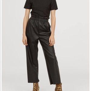 H&M paper bag vegan leather pants NWT